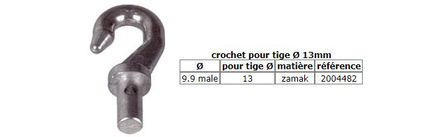 crochet pour tige Ø 13mm