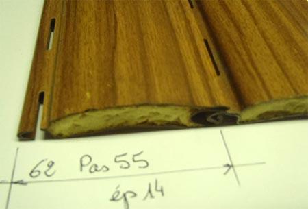Lame acier double paroi isolée, pas de 55 ép. 14