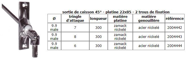 sortie de caisson 45° - platine 22x85 - 2 trous de fixation